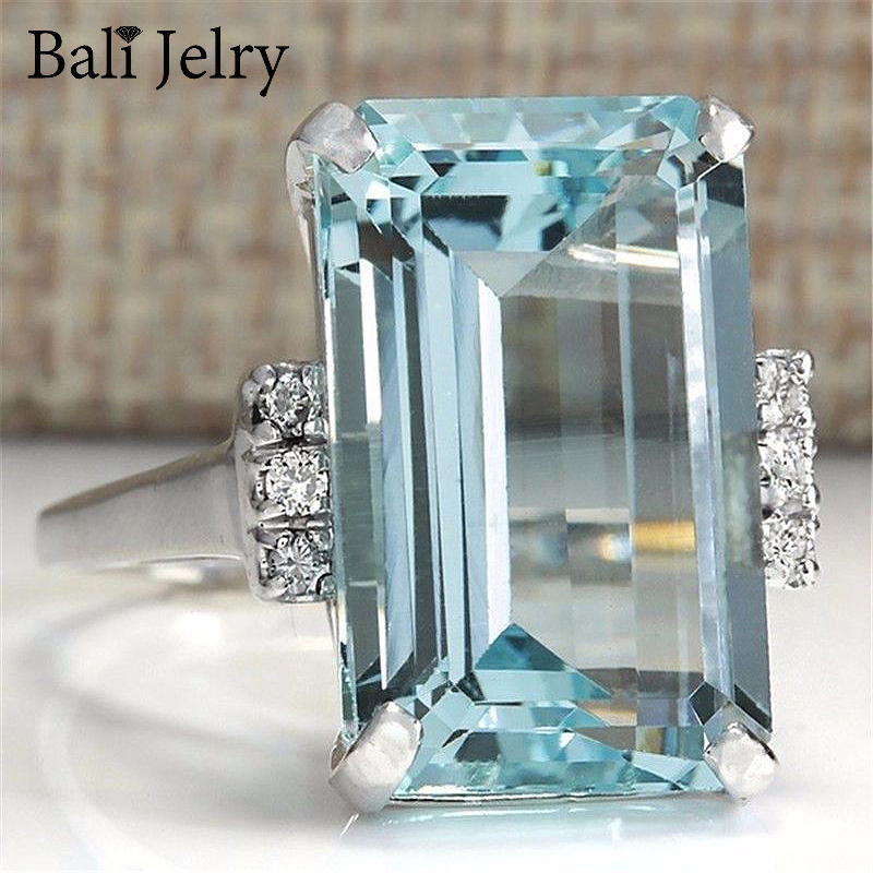 Bali Jelry Trendy 925 Silver Ring Rectangle Shape Sapphire Zircon Gemstone Jewelry Accessories Ring for Women Wedding Engagement