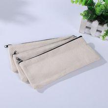 Pencil-Pouch Diy-Craft Canvas Cosmetic-Bag Blank-Bag Makeup 10pcs Multipurpose
