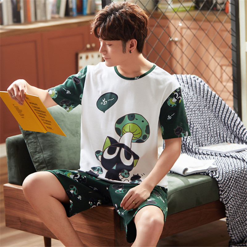 2020 New Pajamas Shorts Short Sleeve Woman Clothes Casual Wear Ms. Pajama Set Cartoon Printing Pajamas Pajamas Men