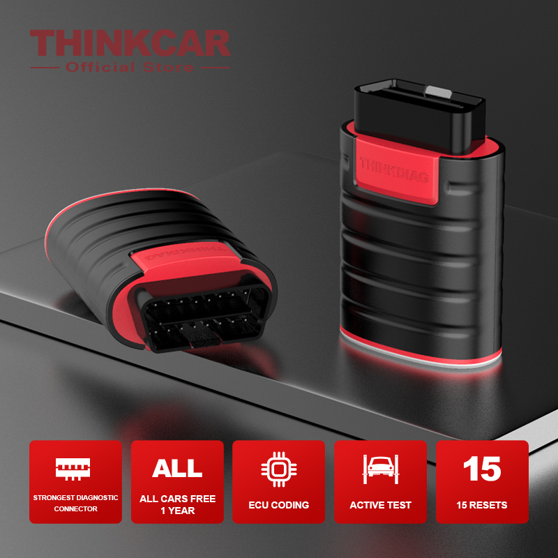 THINKCAR 16pin Extension Cord+ThinkDiag Car Diagnostic Tool Free 1 Years 15 Reset Service ECU Coding All Software Code Reader