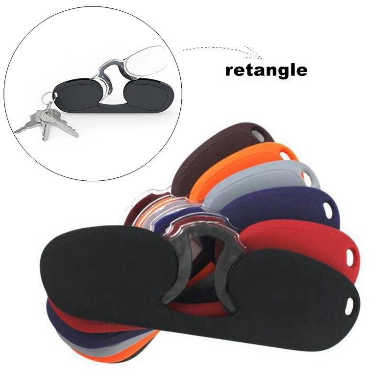 Mini Nose Clip Reading Glasses Men Square Rimless Ultra Light Portable Presbyopic Glasses Women Legless Black With Case Keychain