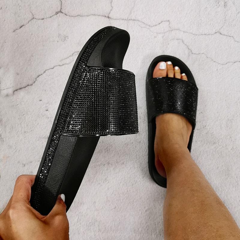Women PVC Crystal Summer Slippers Platform Wedges Bling Shining Female Beach Shoes Thick Bottom Flip-Flops Anti-slip Sandals