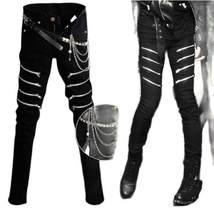 ZWTY erkekler siyah Punk Hip Hop kot çok fermuarlar erkek Skinny Jeans Slim Fit Benim pantolon Biker pantolon mevcut kemer zincirleri