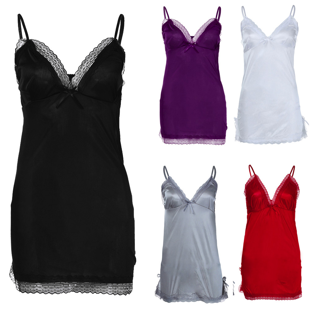 Women's Sleepwear Plus Size Lace Bow Lingerie Sleeveless V-Neck Babydoll Nightwear Sleepskirt Koszula Nocna Hot Erotic Clothing