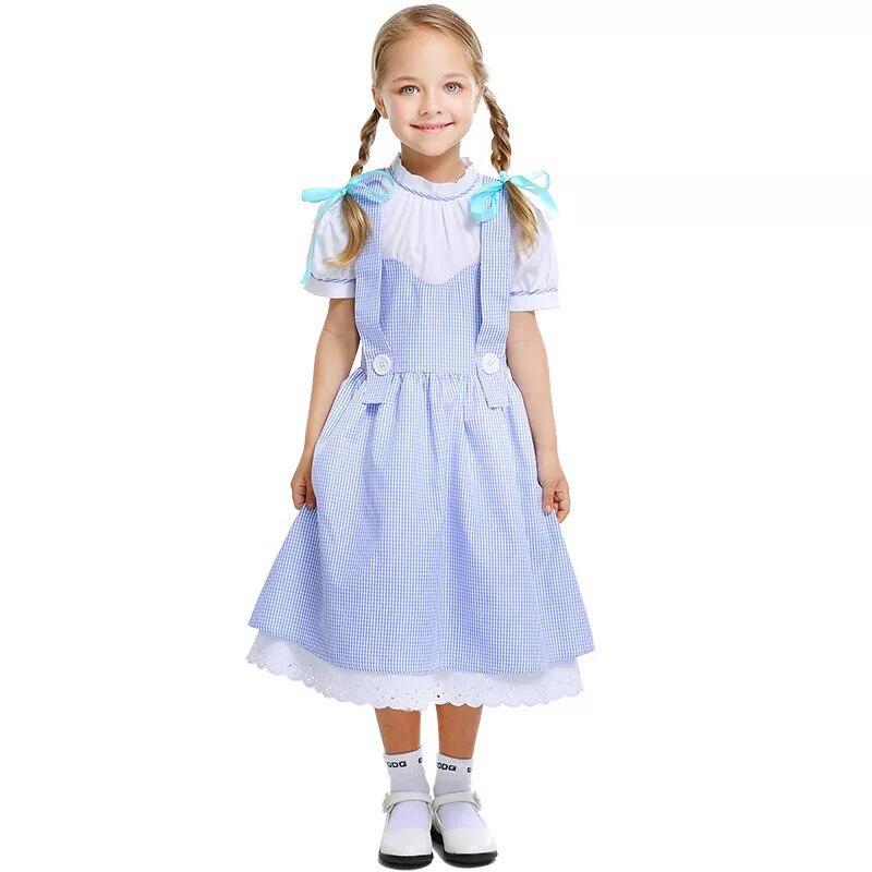 Birincil çocuk kız Oz büyücüsü Dorothy köylü kostüm çocuk tek parça elbise çocuk grubu Cosplay giyim küçük kızlar için 4-11T