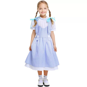 Primary Kid Girls Wizard Of Oz Dorothy Peasant Costume Child One Piece Dress Child Group Cosplay Clothing For Little Girls 4-11T(China)