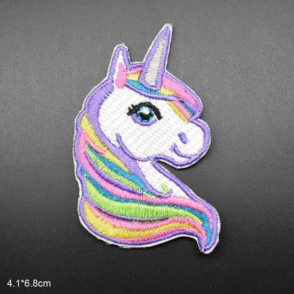 Parche de tela bordado completamente de hierro barato con borde de unicornio rosado para niñas, sombrero, falda, vestido, ropa, accesorios de ropa