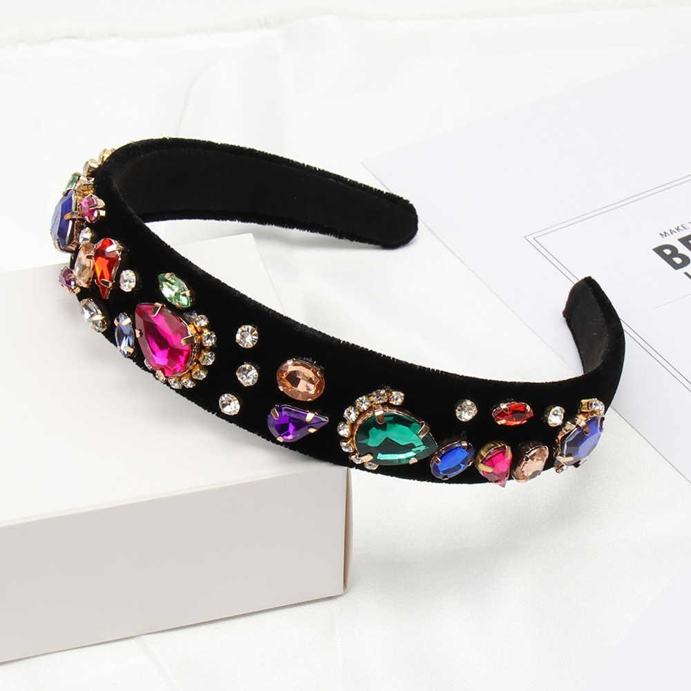 Accessoires de cheveux Baroque bijou perle bandeau pour femmes filles cristal strass lunette élégant velours Satin bandeau cheveux cerceau