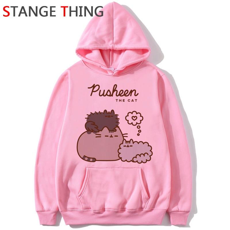 New Pusheen Cat Kawaii Harajuku Funny Cartoon Hoodies Women Ullzang Cute Cats Graphic Sweatshirt 90s Korean Style Hoody Female