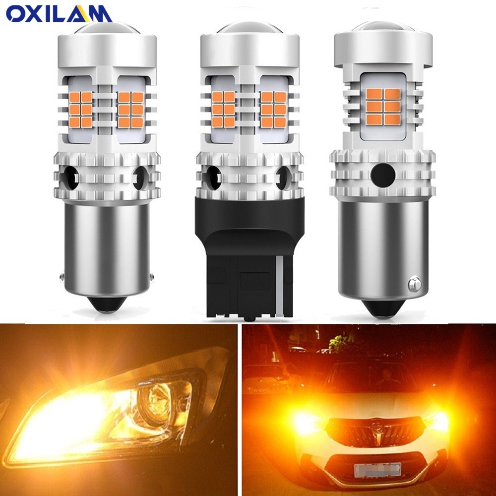 2pcs No Error Hyper Flash CanBus P21W PY21W BAU15S <font><b>T20</b></font> W21W W21/5W 7440 1156 BA15S <font><b>LED</b></font> Bulbs Car Turn Signal Light lamp <font><b>Amber</b></font> image