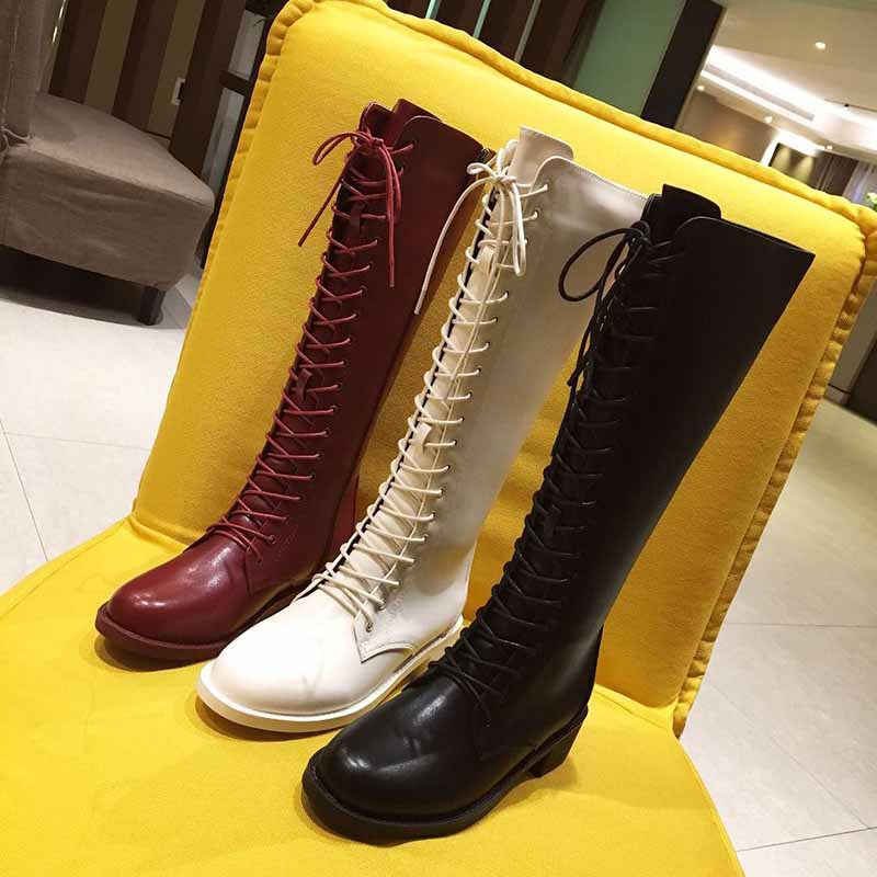 Lace Up Boots Low Heels booties Winter Shoes Women Round Toe Zipper Luxury Designer Booties Ladies 2019 Rubber Fashion Autumn