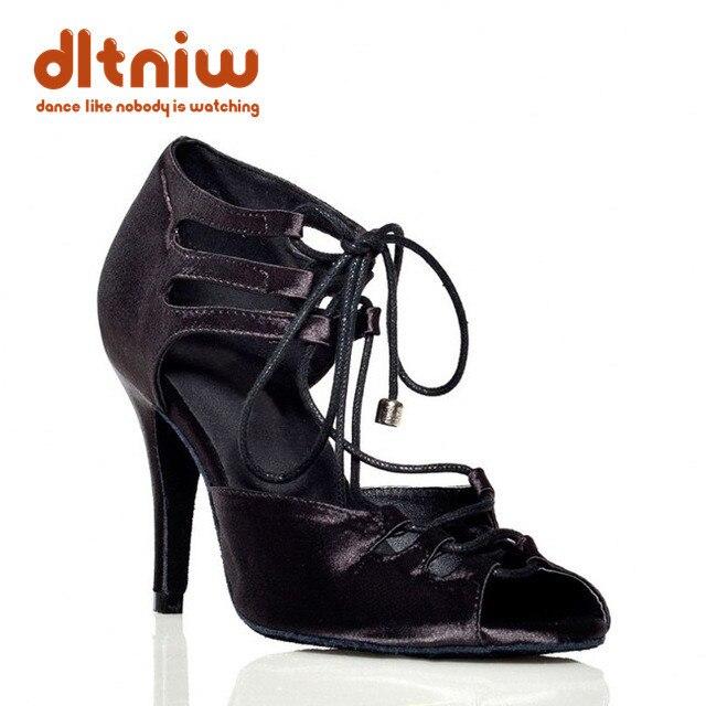 레드 블랙 얼룩말 새틴 라틴 댄스 슈즈 와이드 좁은 발 살사 하이힐 10cm 힐 높이 여성 볼룸 댄스 슈즈