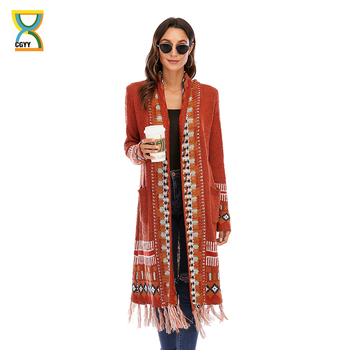 CGYY Fashion Rust Red Color Spring Autumn Long Sleeve Knitted Boho Plaid Cardigan Women Open Front Sweaters with Fringe Tassel