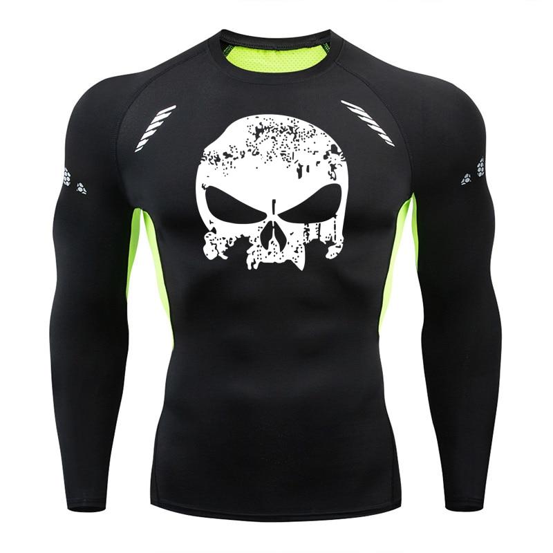 Brand Skull Tight Men's T-shirt Long-sleeved Compression Shirt Quick-drying Men's Sports Running Shirt Gym Training Clothing