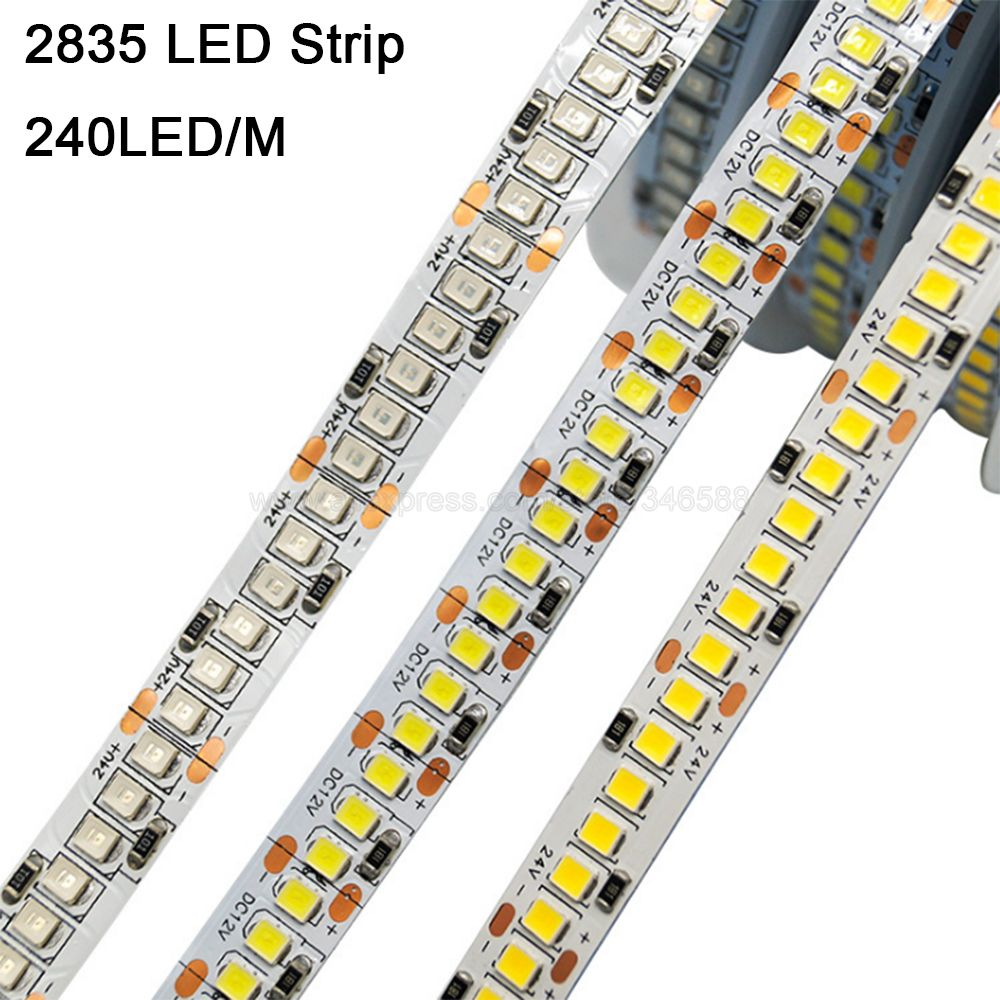 5m 10mm pwb dc 12v smd 2835 led strip 240leds/m 1200 led alto brilho flexível led fita ip20 ip65 impermeável