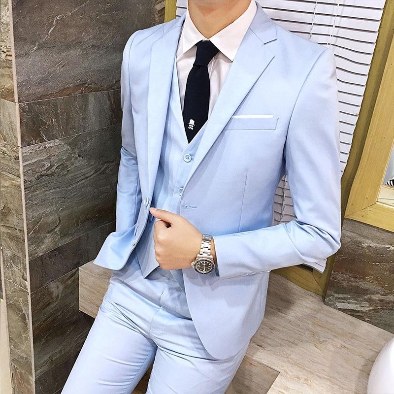 Autumn And Winter Korean-style Men Slim Fit Suit Set Hair Stylist Suit Three-piece Set Marriage Formal Dress Small Men'S Wear Tr