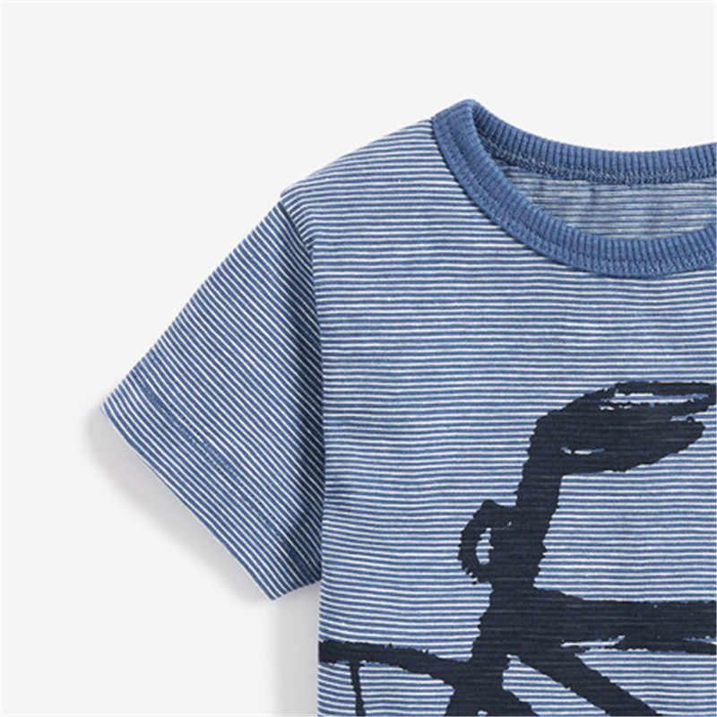 Pouco maven 2020 novo verão bebê crianças menino bicicleta manga curta o-pescoço t camisa dos desenhos animados foguete azul camisetas para 1-7 anos meninos