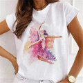 Новинка, модная женская рубашка в стиле Харадзюку с принтом чернил и короткими рукавами, летняя повседневная женская футболка с круглым выр...