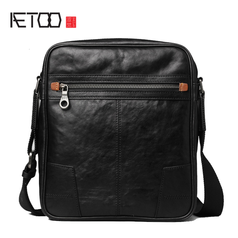 AETOO Men's leather mini slant bag, men's leather casual leather bag, youth soft leather trend shoulder bag
