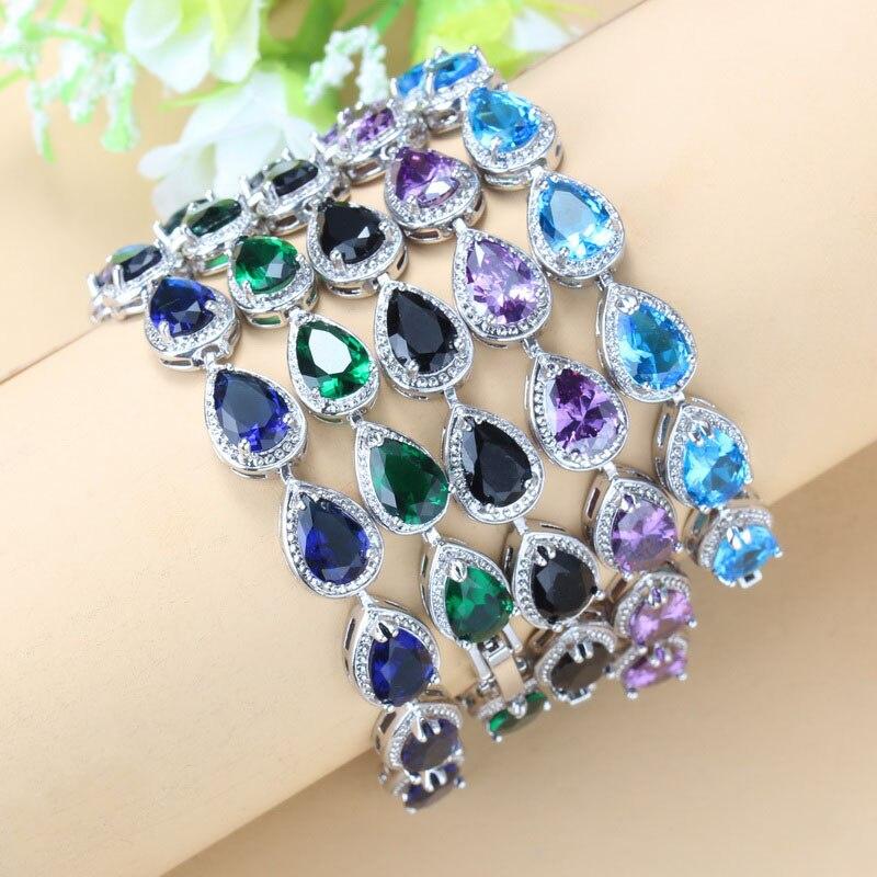 Очаровательный браслет серебряного цвета с фиолетовым цирконом, модные ювелирные изделия для женщин, Бесплатная шкатулка для ювелирных изделий SL82|sterling silver bracelet|925 sterling silver braceletsilver bracelet | АлиЭкспресс