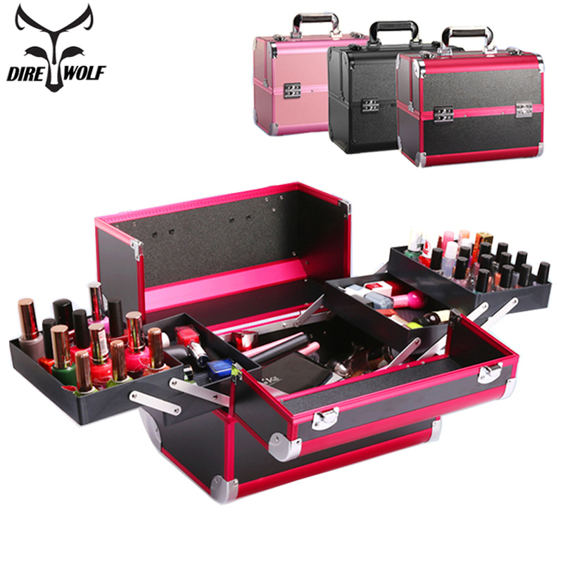 Fashion Suitcase Cosmetic Bag Case For Cosmetics High Quality Large Capacity Makeup Bag Make Up Organizer Storage Bags Suitcases