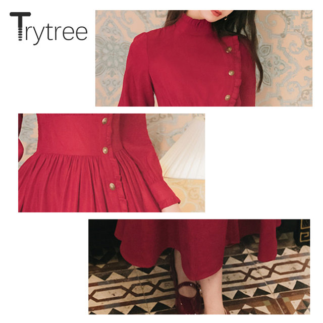 Trytree 2020 Autumn Winter Casual Women's Dress Corduroy Stand Collar Side Buttons Puff Sleeve Ankle-Length A-line Vintage Dress 6