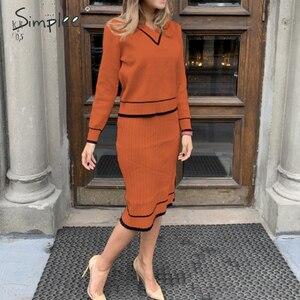 Image 2 - Simplee vestido plisado elegante de dos piezas para mujer, vestido de punto con cuello de pico, suéter de otoño para mujer, vestidos sueltos de oficina para mujer, vestidos de invierno