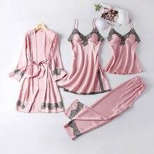 Lipiec SONG nowy 4 sztuk kobiety piżamy ustawia sztuczny jedwab piżamy zestawy piżamy elegancka seksowna koronkowa moda wiosna jesień Homewear