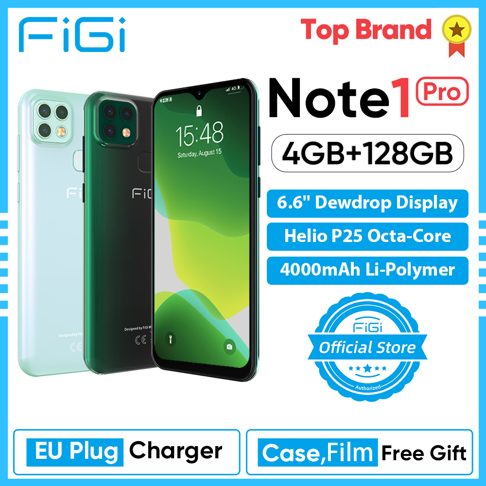 FIGI Note 1 Pro Smartphone 6.6 Display 4000mAh Battery Helio P25 Octa Core 4GB 128GB Mobile phone 16MP Triple Camera Telephone 1