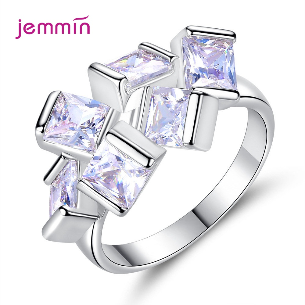 Exaggerated 925 Sterling Silver Stackable Square CZ Zirconia Finger Rings For Women High Quality Wedding Engagement Jewelry Gift