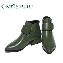 Buty damskie 2020 zimowe luksusowe marki zielone Retro kobieta botki damskie buty PU skórzane buty kobiece buty Botines Mujer