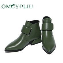 Women Boots 2020 Winter Luxury Brands Green Retro Woman Ankle Boots Ladies Shoes PU leather Boot Female Shoe Botines Mujer