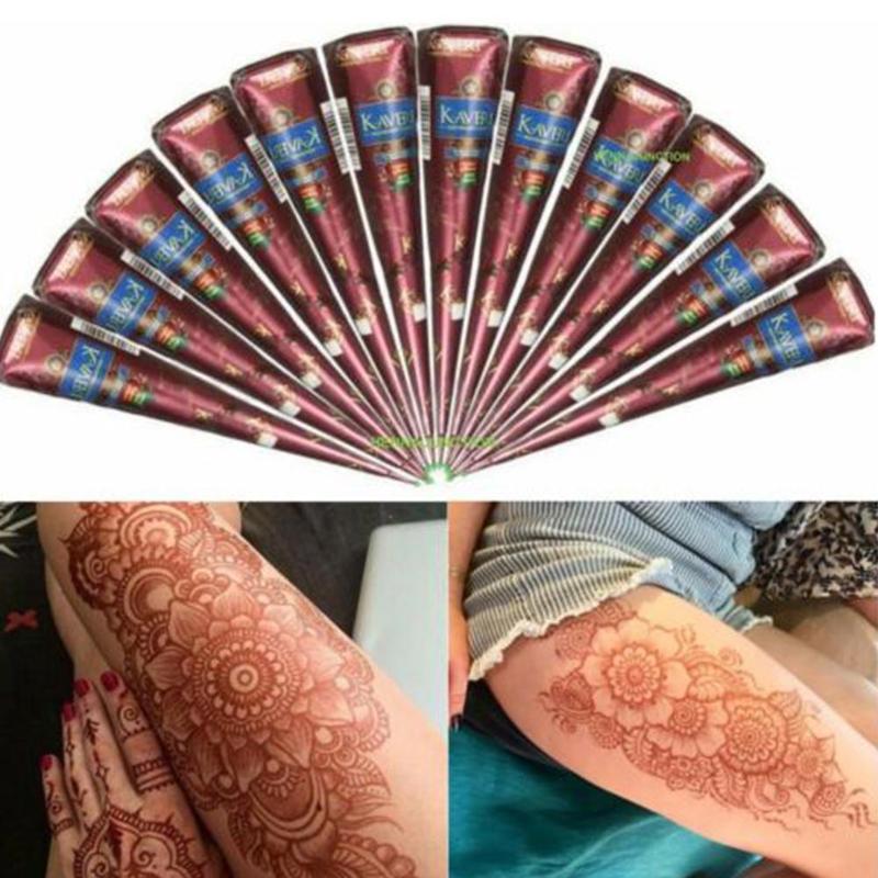 1pcs Mehndi Natural Brown Indian Henna Tattoo Paste Cones Body Art Sticker Mehndi Body Paint