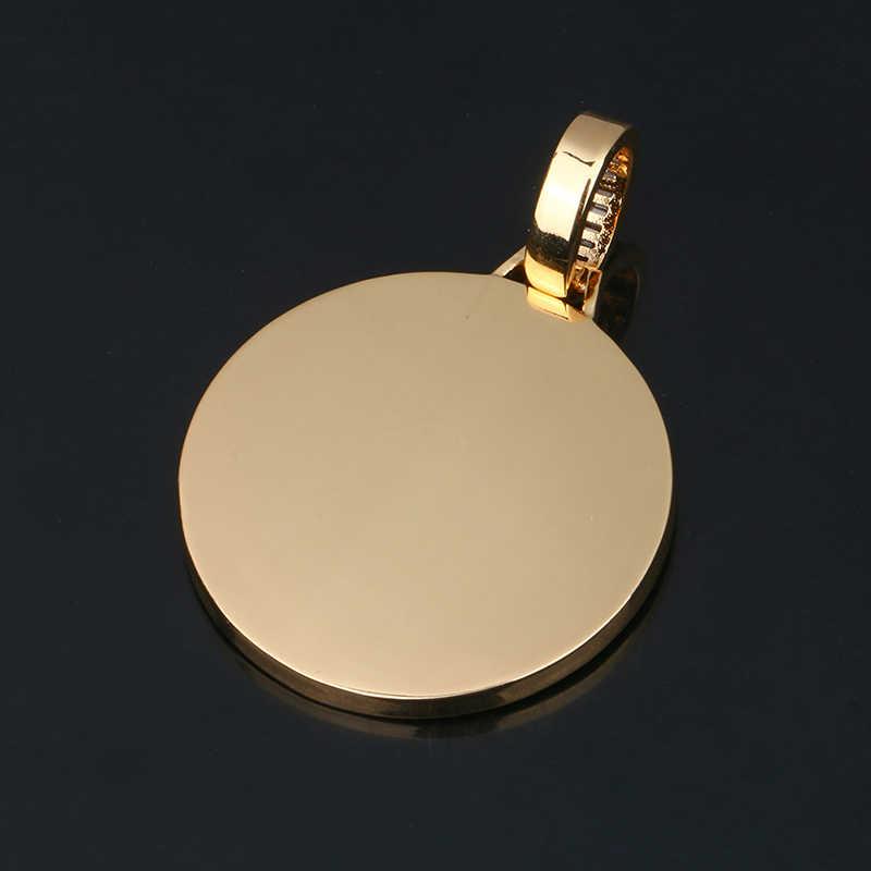 Nowe niestandardowe zdjęcie pamięci medaliony solidny naszyjnik kwadratowy kryształ bagietka okrągły Hip Hop biżuteria męska spersonalizowany łańcuch