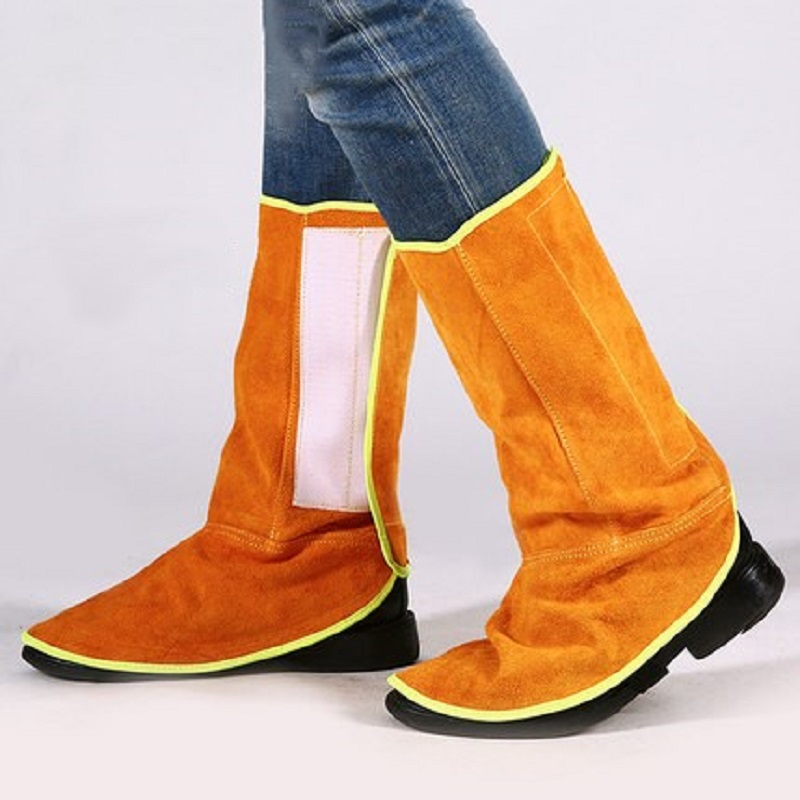 Welding Safety Foot Leg Protection Cowhide Leather Fireproof Heat Insulated Wear-resistant With Elastic Band