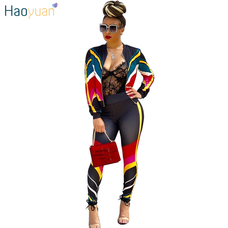 HAOYUAN Plus Size 2 Two Piece Set Women Clothes Striped Zip Tops+Bodycon Pants Sweat Suit Casual Outfits Matching Sets Tracksuit