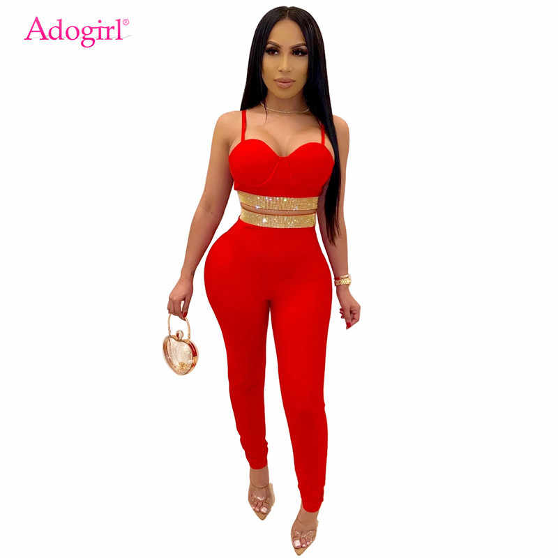Adogirl Diamonds Fashion Sexy Two Piece Set Women Night Club Suit Spaghetti Straps Crop Top Pencil Pants Female Skinny Outfits