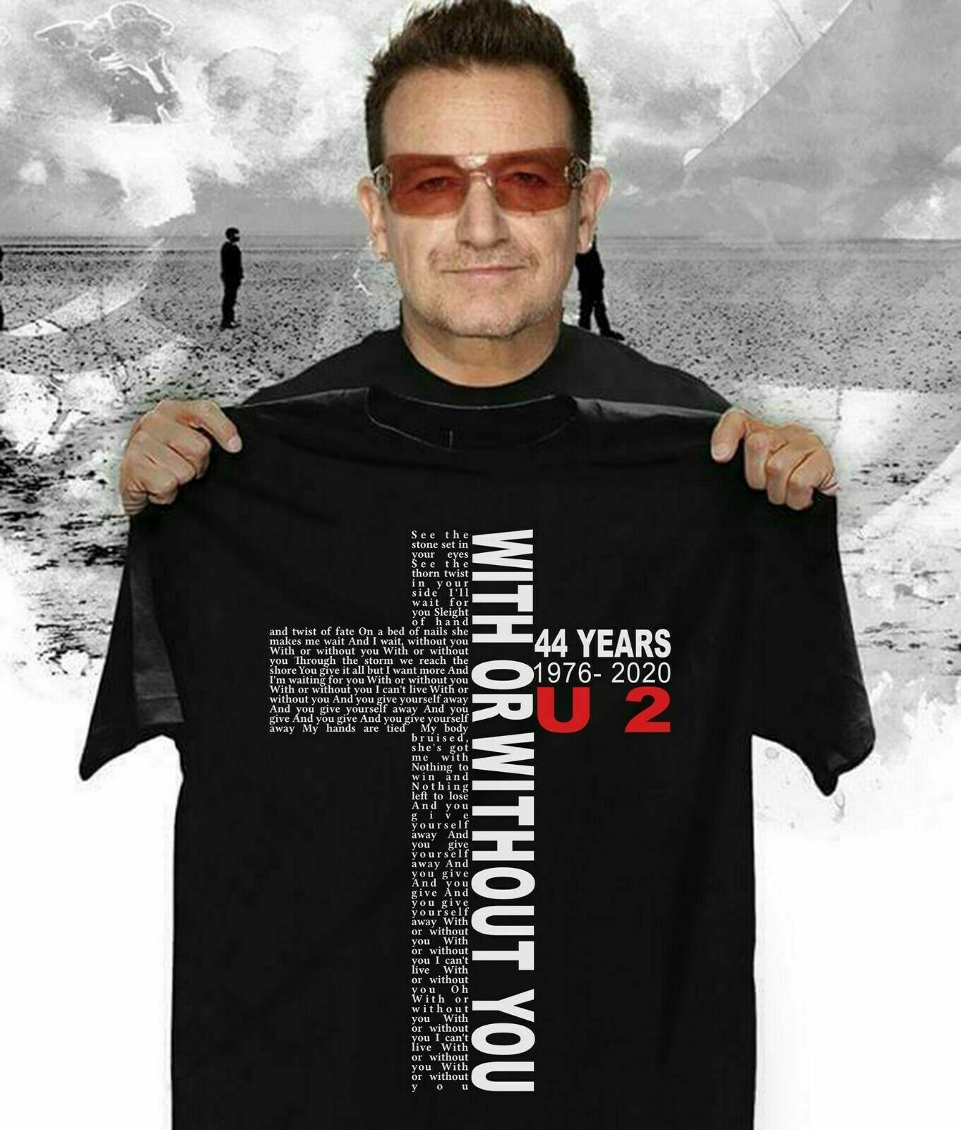 U2 44 Years With Or Without You Black T Shirt Best Gift For Birthday Hot S 6Xl