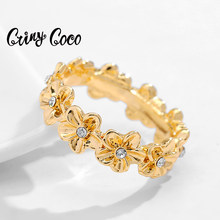 Cring Coco Polynesian Gold Filled Ring Plumeria Fashion Hawaiian Flower Engagement Rings Accesories for Women Jewelry Wedding