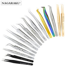 NAGARAKU Stainless Steel Straight Curved Nail Tools Eyelash Extension Accurate Tweezers Nippers Pointed Clip Set Makeup Tools