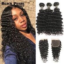 Pérola preta pacotes de onda profunda com fechamento remy cabelo humano cabelo brasileiro 30 Polegada pacotes com fecho 3 pacotes com fecho