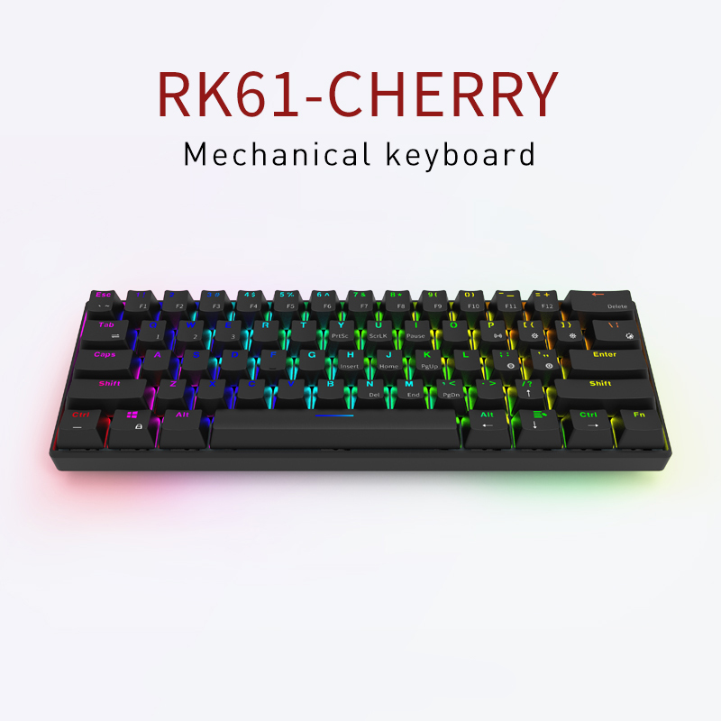 Mechanical Keyboard Mx Brown  Blue Red 61 Keys RK61 Bluetooth Wireless  Backlit Mechanical Keyboard Poker Layout Game Keyboard