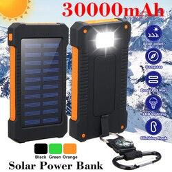 Ao ar livre 30000 mah banco de energia solar com luz led à prova dwaterproof água carregador solar portas carregador externo powerbank para xiaomi smartphone