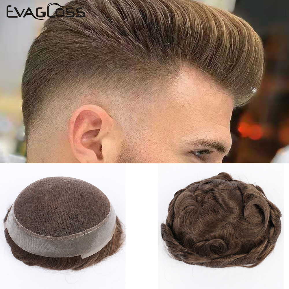 EVAGLOSS Mens Wig Australia Base Swiss Top PU Natural Human Hair System For Mens Toupee Hair Replacement Free Shipping