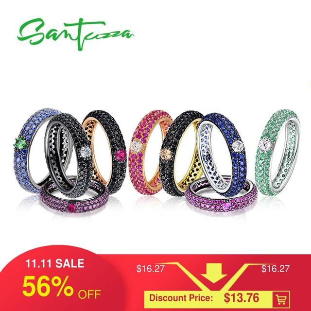 SANTUZZA خاتم فضة للنساء متعدد الألوان الأحجار تكويم الخلود خواتم 925 فضة حفلة العصرية مجوهرات الأزياء