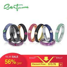 SANTUZZAแหวนเงินผู้หญิง สีหินStackable Eternityแหวน925เงินสเตอร์ลิงปาร์ตี้อินเทรนด์แฟชั่นเครื่องประดับ