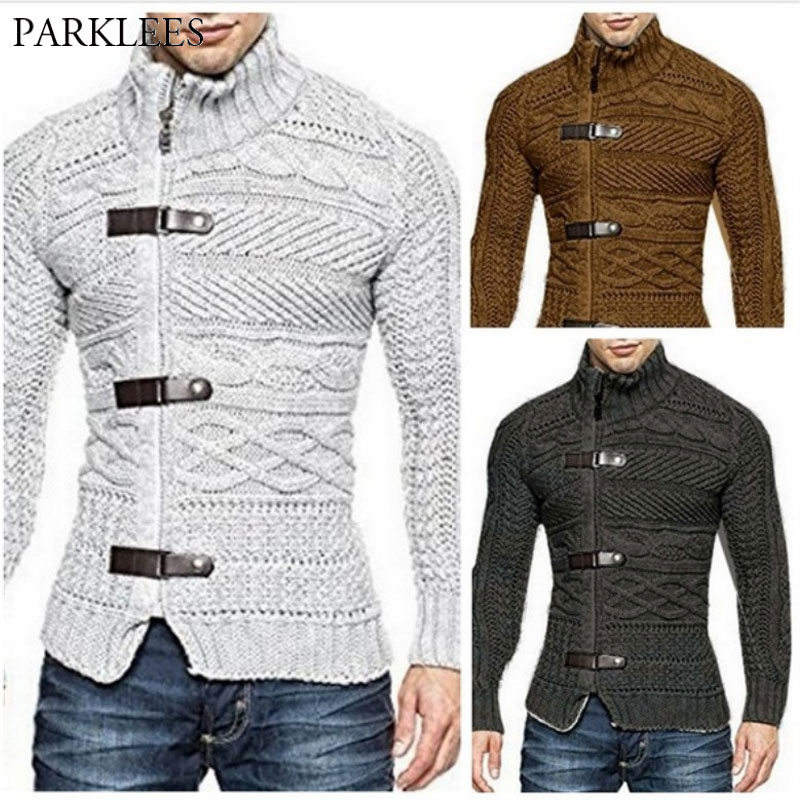 Cable Knit Sweater Men Stand Collar Mens Zipper Cardigan Sweater Coats Casual Slim Autmn Winter Leather Buckle Knitwear Pull 3XL