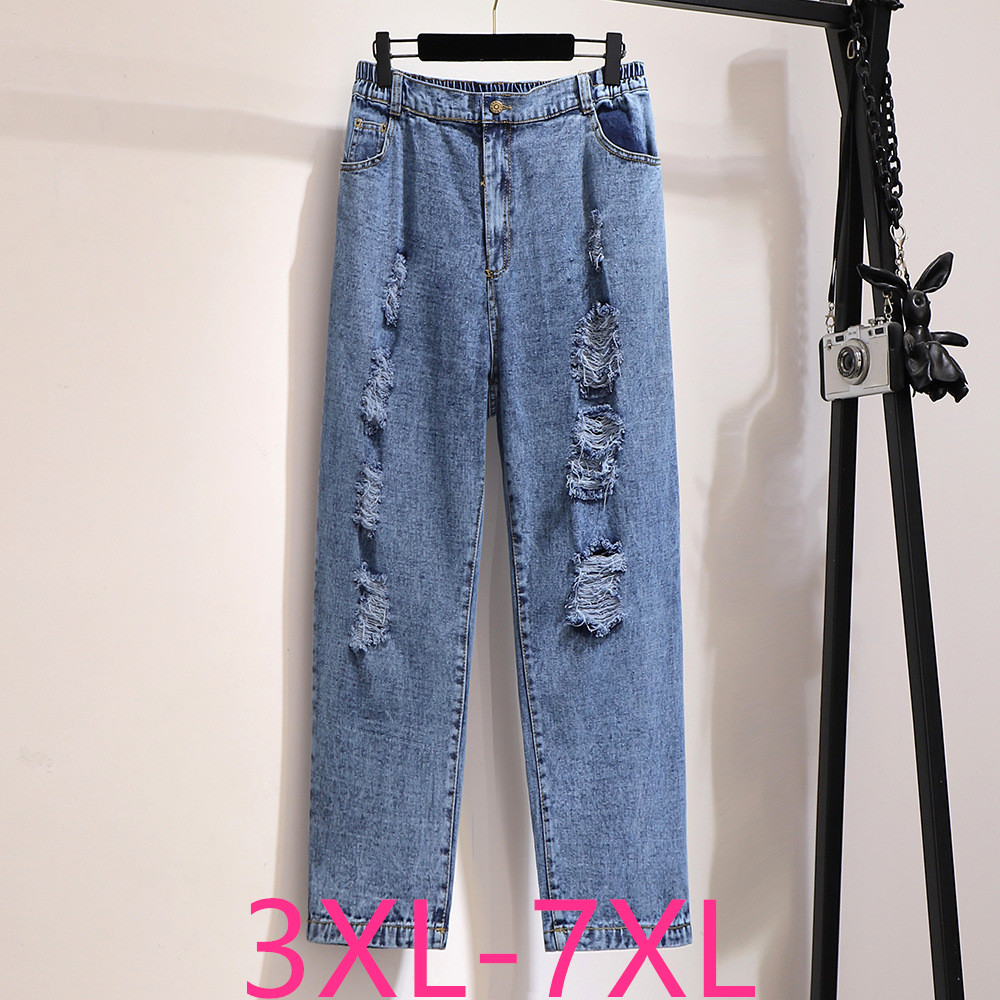 2019 Fashion Autumn Winter Plus Size Jeans For Women Large Loose Casual Elastic Waist Hole Denim Long Pants 3XL 4XL 5XL 6XL 7XL