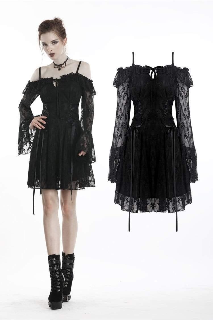 Darkinlove femmes gothique épaule dénudée dentelle superposée robes à manches transparentes DW247