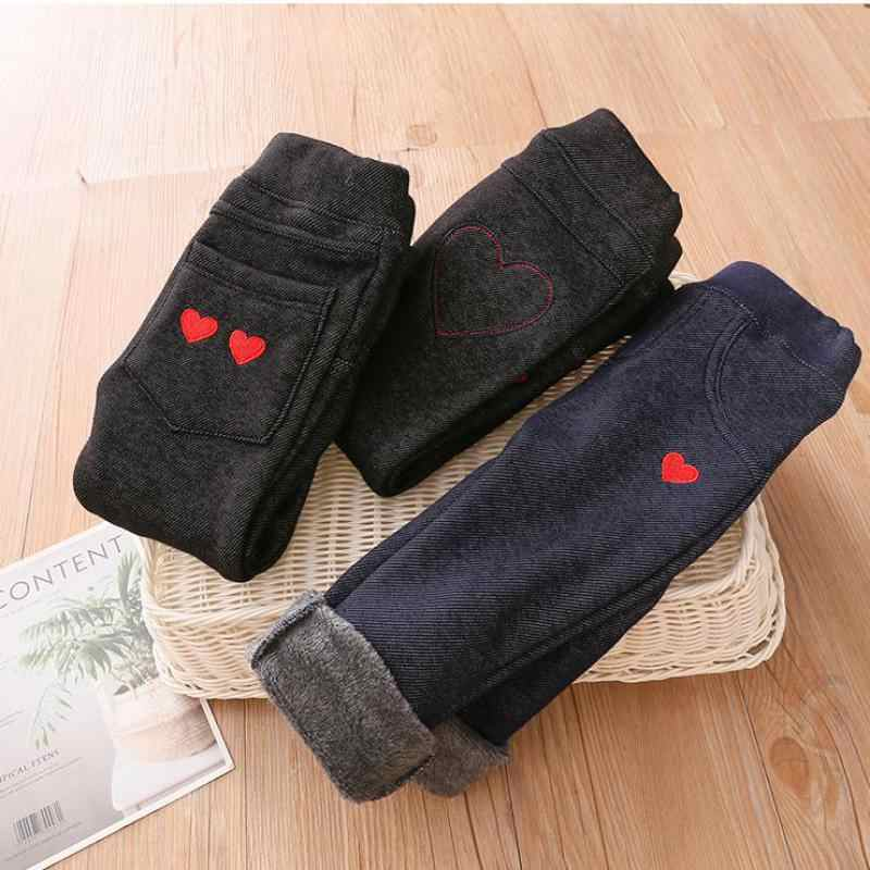 Baby Girls Love Embroidery Imitation Denim Leggings 2019 Autumn Winter Kids Girls Plus Velvet Keep Warm Pant Children's Trousers